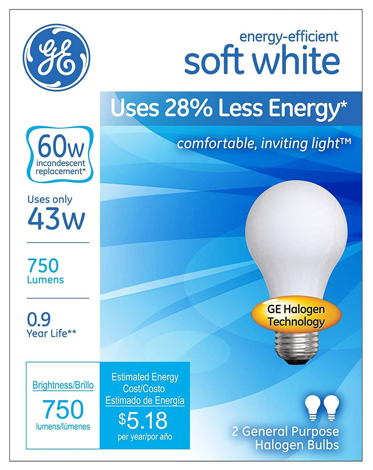 GE Lighting 63003 Soft White 43 Watt (60 Watt Replacement) 750 Lumen A19 Light  Bulb With Medium Base, 2 Pack   Halogen Bulbs   Amazon.com Ideas