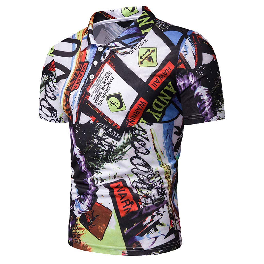 Summer Men/'S Funny Short Sleeve Painting Print Slim Fit Fashion Button Stand Collar Patchwork Casual Blouse Asibeiul