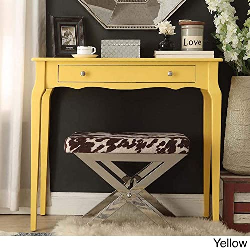 Inspire Q Daniella 1-Drawer Wood Accent Console Table by Bold Yellow Painted