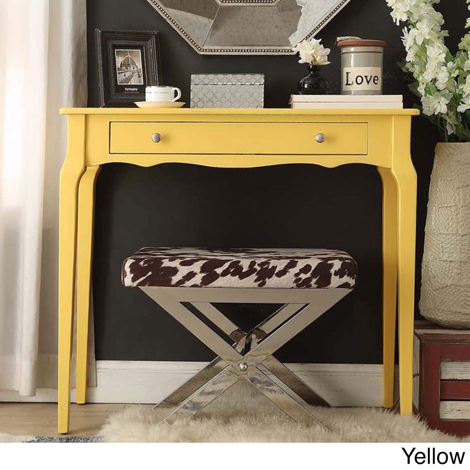 Inspire Q Daniella 1-Drawer Wood Accent Console Sofa Table by Bold Yellow Painted