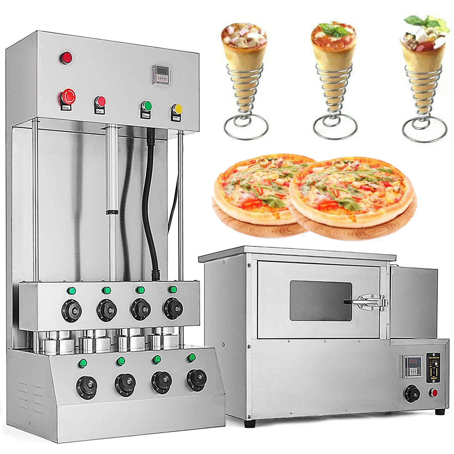 VEVOR Commercial Pizza Cone Forming Machine 110V Rotational Pizza Oven 2 in 1 Automatic Handheld Pizza Cone Maker with Pizza Oven 304 Stainless Steel (Adjustable temperature and Rotary Speed)