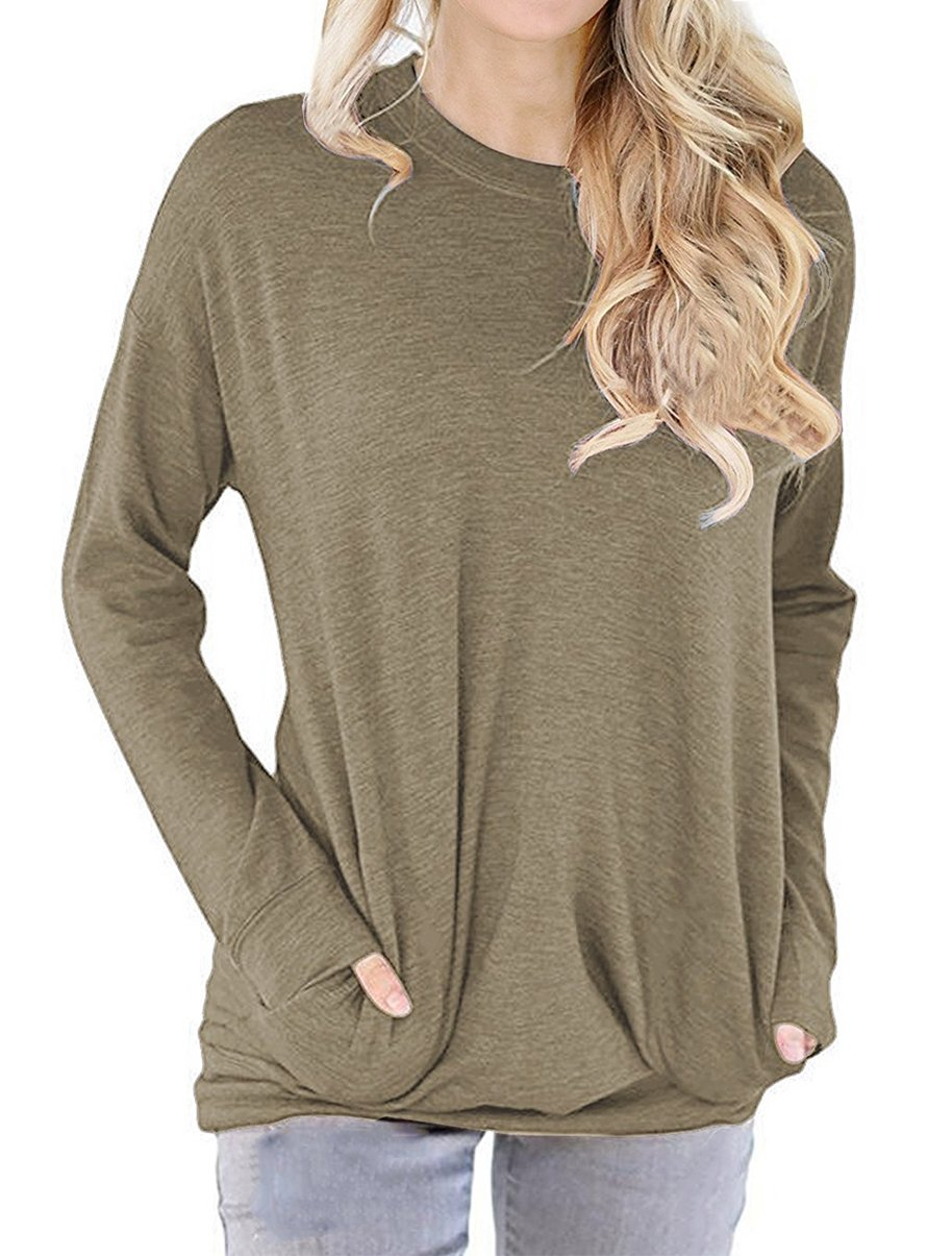 lymanchi Women Tunic Sweatshirt Pocket Baggy Round Neck Pullover Long Sleeve Shirt Top Khaki M