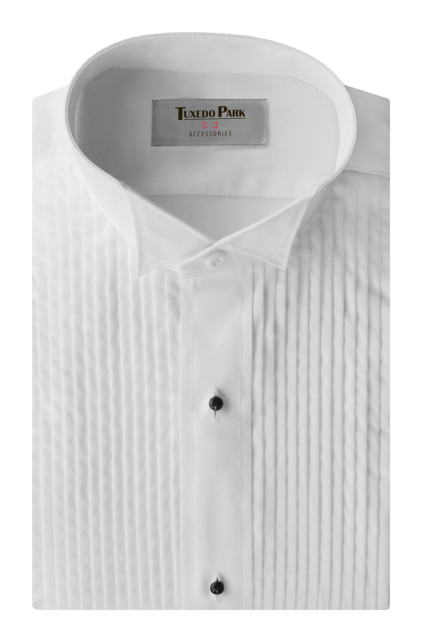 Tuxedo Shirt- White Wing Collar 1/4'' Pleat,2XL/18-18.5'' Neck 32-33'' Sleeve by Tuxedo Park