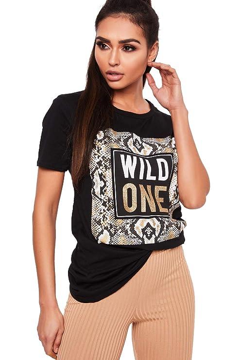 621110a74f Crazy Girls Womens Black Gold Wild One Snake Print Amour Slogan Printed  Ladies T-Shirt  Amazon.co.uk  Clothing