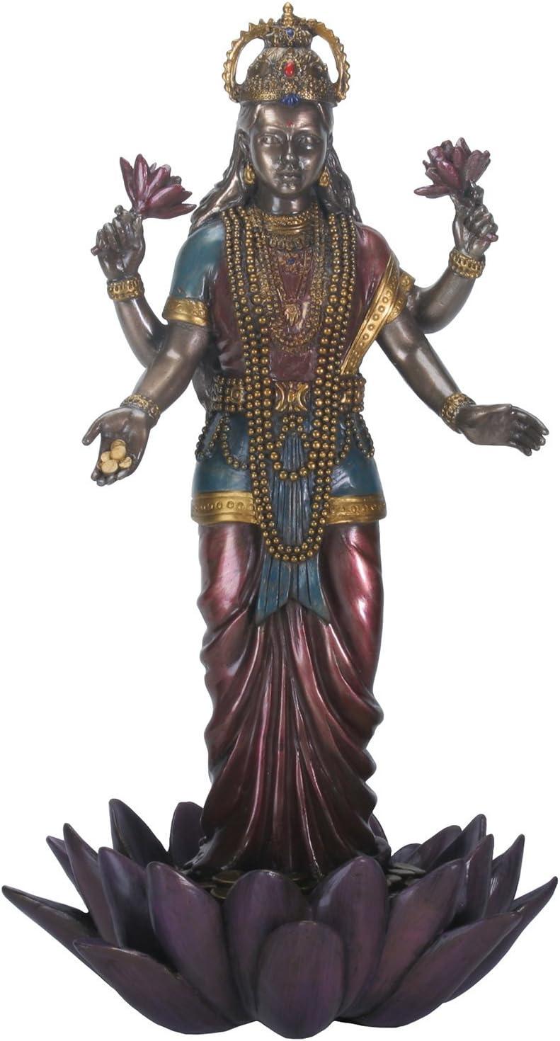 YTC 9.5 Inch Standing Lakshmi Eastern Statue Figurine, Multicolored