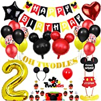 Danirora Mickey Mouse Party Decorations 2nd Birthday, Mickey Mouse Birthday Party Supplies for Kids Mickey Banner Mickey…