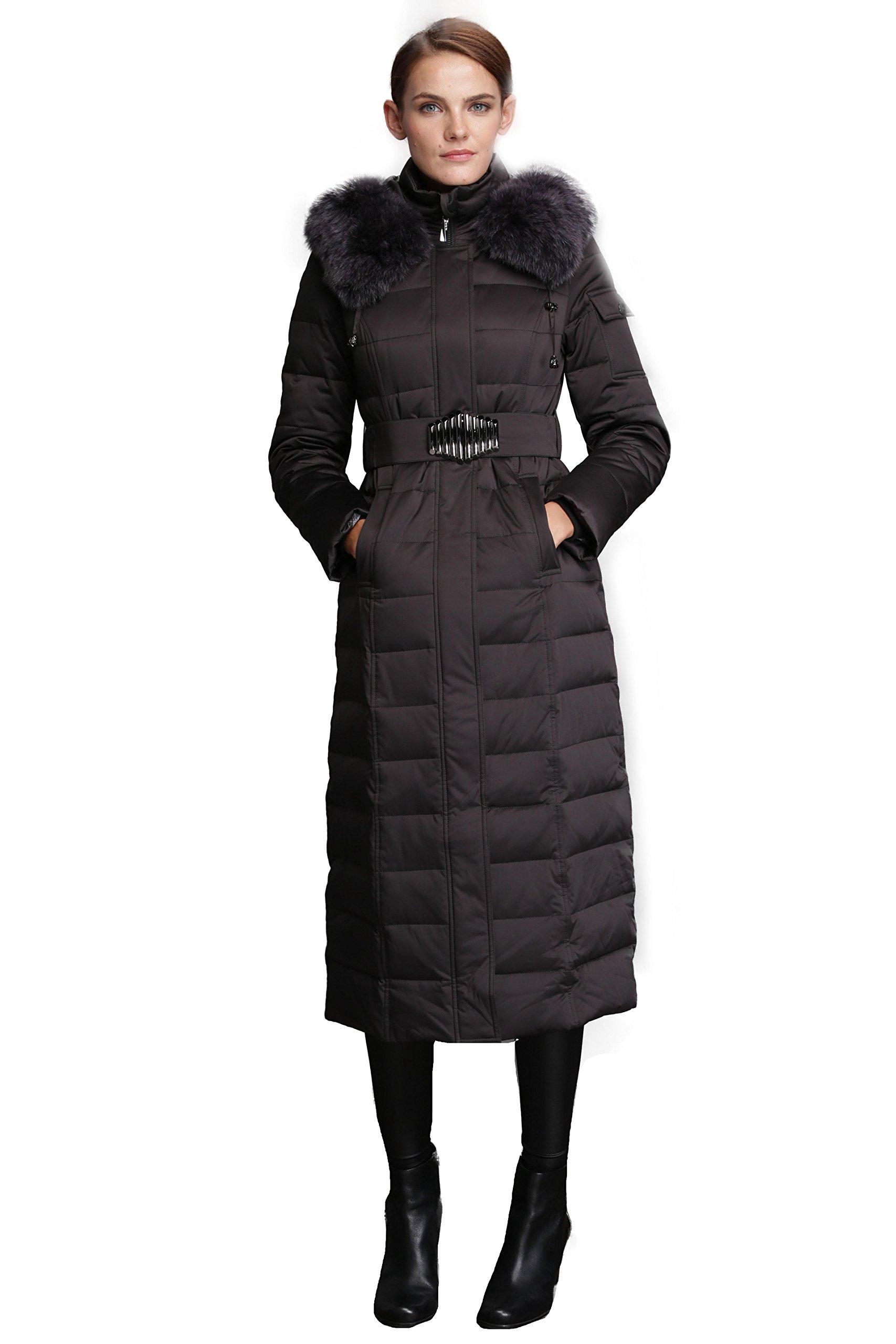 Fast Sister Women's Stylish Goose Down Jackets Down Coats Parka Fox Fur Collar -XXL Black
