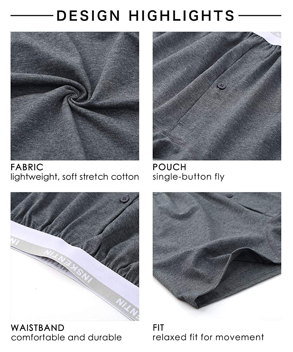 Inskentin 3 Pack Mens Cotton Knit Loose Boxers Relaxed Fit Tagless Soft Underwear with Button Fly