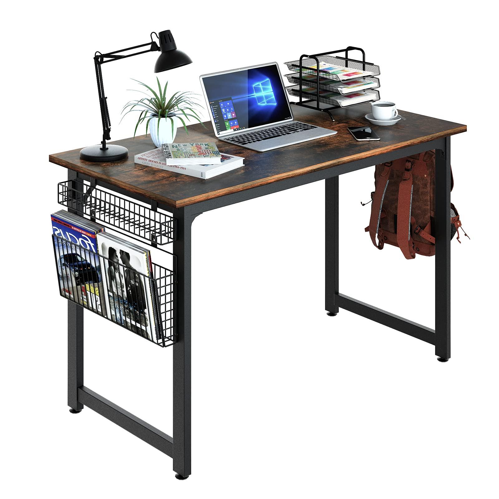 ASTARTH Study Computer Desk 39 Inch Home Office Desk Wood Storage Table