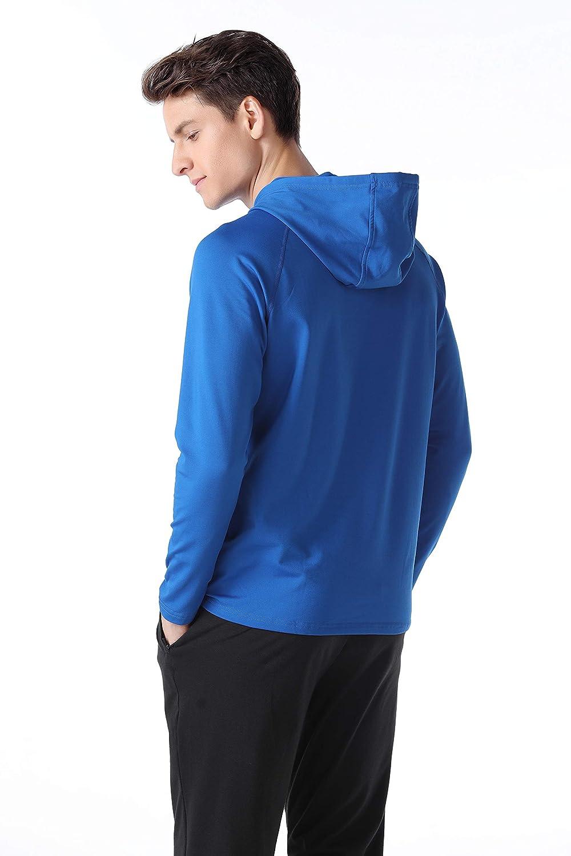 Ogeenier Mens Zip Long Sleeve Hooded T-Shirt Fleece Running Sweatshirt Warm-up Jogging Top Tee Mens Clothing Base Layer Sportswear hoodie