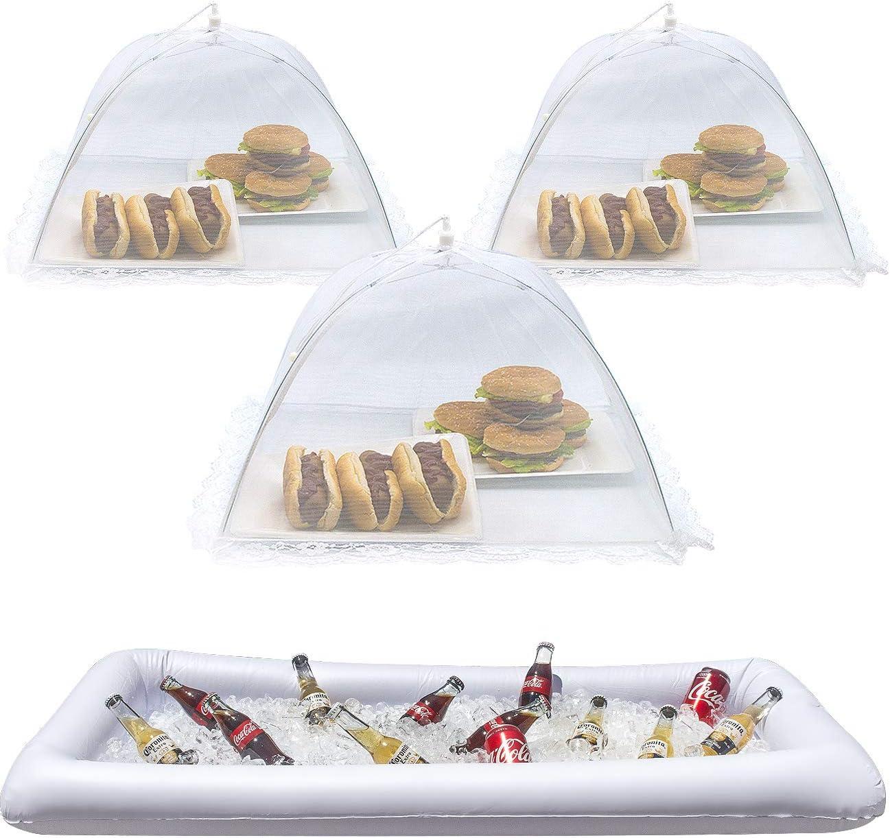 Sorbus Inflatable Serving Bar & Food Umbrella mesh Cover Screen Tent Set for Food and Beverages, Perfect for BBQ, Picnic Pool Outdoor Party Supplies, Buffet Luau Cooler,1 Salad Bar 3 Food Umbrellas
