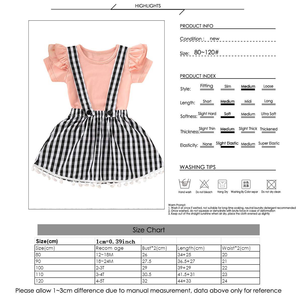 2pcs//Set Infant Baby Girls Short Sleeve Ruffle Top+Plaid Print Skirt Outfits Set
