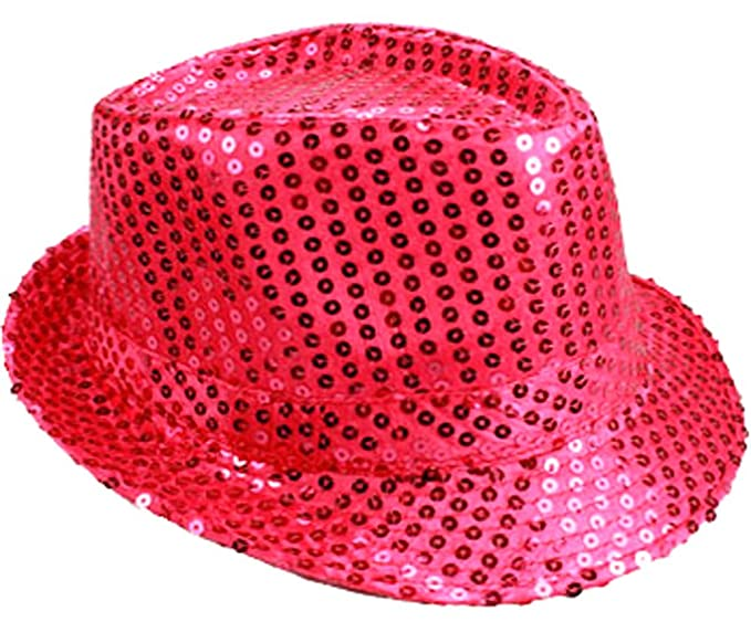 b9a9811f5 LAfashionist Sequin HOT PINK Party Fedora Hat at Amazon Men's ...