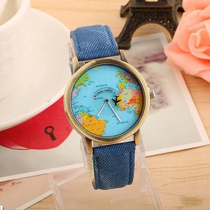 Amazon world map women men denim fabric watches quartz relojes amazon world map women men denim fabric watches quartz relojes mujer relogio feminino gift blue watches gumiabroncs Choice Image