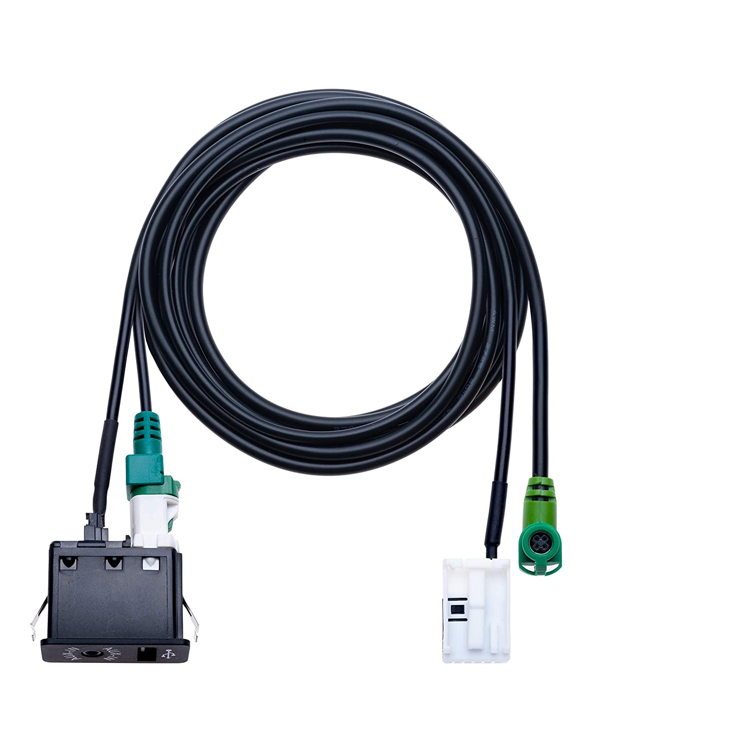 Compatible with BMW 1 3 5 6 E81 E82 E87 E88 E90 E91 E92 E93 E60 E61 F07 F10 F11 E63 E64 F06 F12 F13 Vehicle Radio USB 4 pin Connecting Wire AUX 12 pin Harness Cable USB AUX Car Switch 4.9 ft