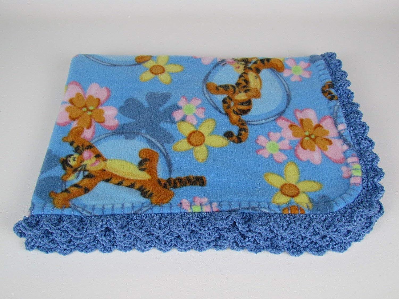 Disneys Tigger in Blue Fleece Baby Blanket