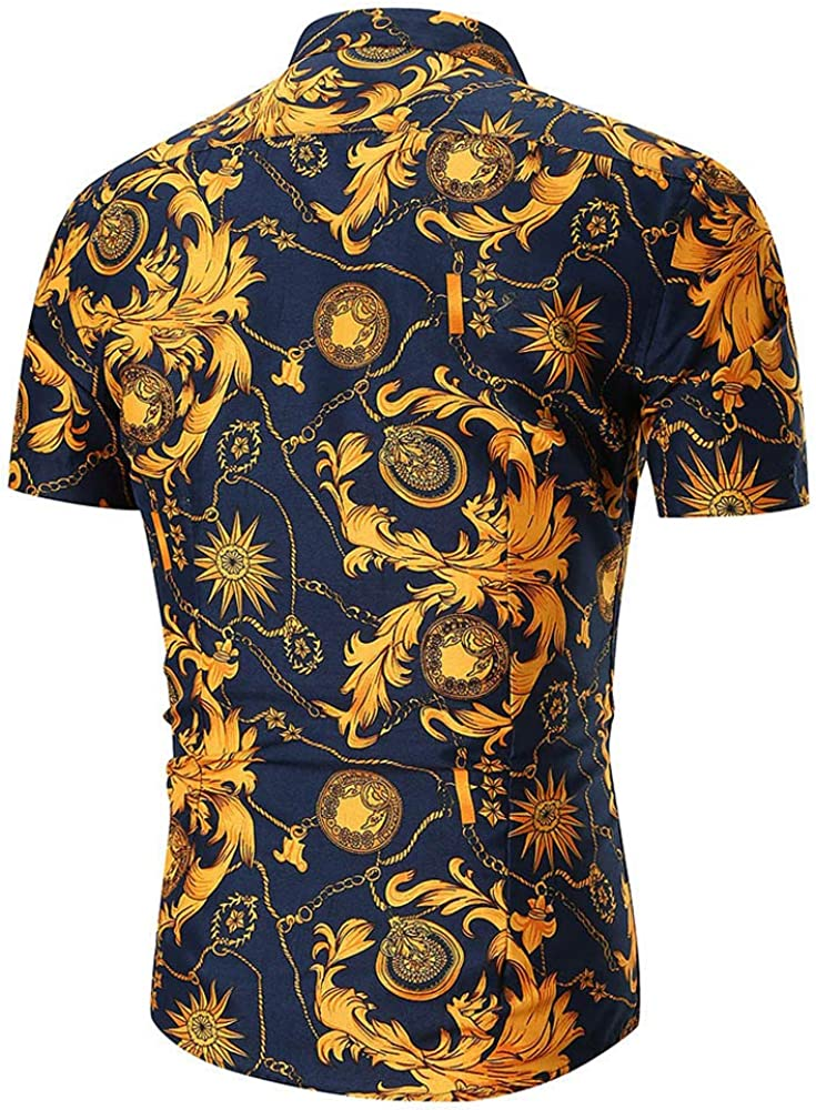 2019 New Personality Mens Summer Casual Slim Short Sleeve Printed Shirt Top Blouse