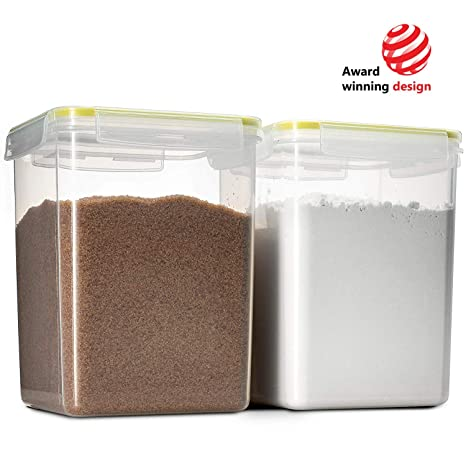 Komax Biokips Flour and Sugar Storage Containers | 2 Extra Large Sugar and  Flour Canisters (175-oz) | BPA-Free, Airtight Food Storage Containers | For