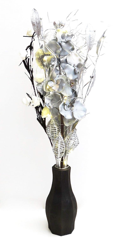 Fatto a mano nero, argento & bianco bouquet. Free vaso in legno nero. Lights Up. 20luci e 3batterie AA incluse. 85cm di altezza. Link Products