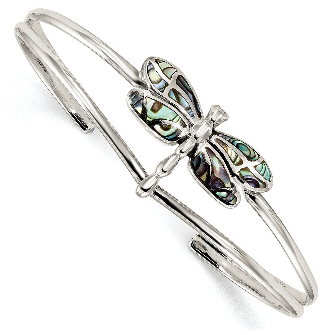 ICE CARATS 925 Sterling Silver Abalone Dragonfly Bangle Bracelet Cuff Expandable Stackable Fine Jewelry Ideal Mothers Day Gifts For Mom Women Gift Set From Heart