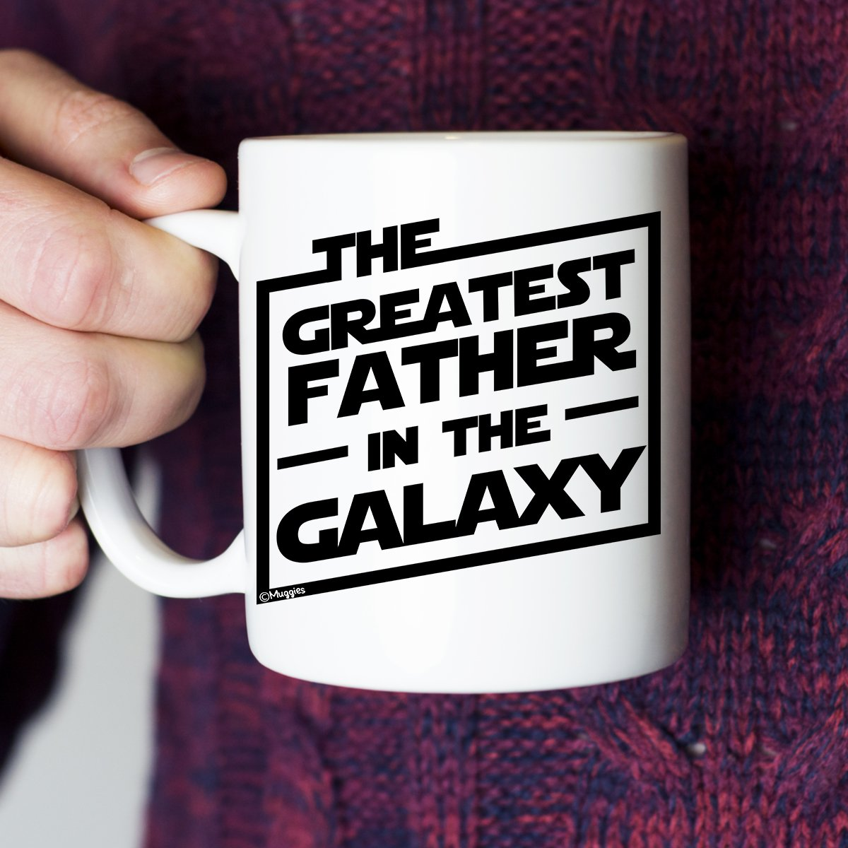 Muggies Greatest Father in The Galaxy 11oz. Coffee Tea Mug. Unique Funny Christmas, Xmas, Birthday, for Him - Super Star Men, Dad, Husband by GENUTRI (Image #3)