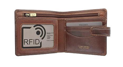 Visconti Colección Tuscany MASSA Cartera de Cuero con Protección RFID TSC41 Canela