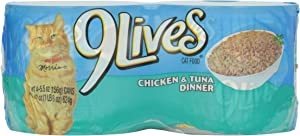 9 Lives Cat Food Chicken and Tuna Dinner, 4 ct, 5.5 oz