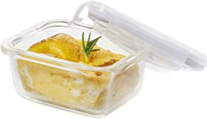 LOCK & LOCK GLASS, 0.7 Cup, Borosilicate Glass, Oven Safe, BPA Free, 100% Airtight, Glass Rectangular Food Storage Container with Lid