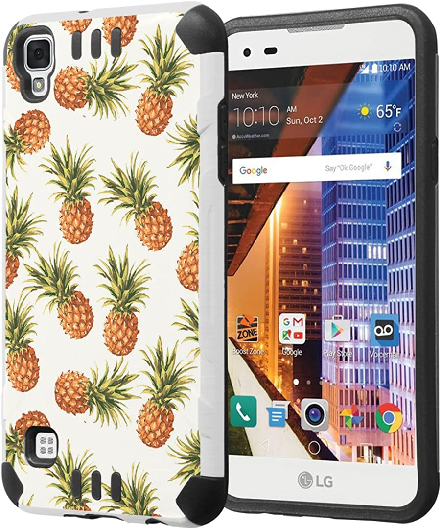 LG Tribute HD Case, LG X Style Case, Capsule-Case Hybrid Dual Layer Silm Defender Armor Combat Case (White & Black) Brush Texture Finishing for LG TributeHD / X Style - (Pineapple)