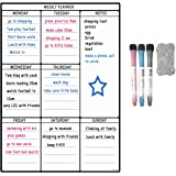"""A3 Dry Erase Weekly Planner Board, 16"""" X 12"""" Multiple Use Magnetic Whiteboard Chore Chart - Daily, Weekly and Monthly Scheduling Activity, Reward, Fitness, Meal Prep for Pets, Kids, and Adults, 3 Markers and 1 Eraser included"""