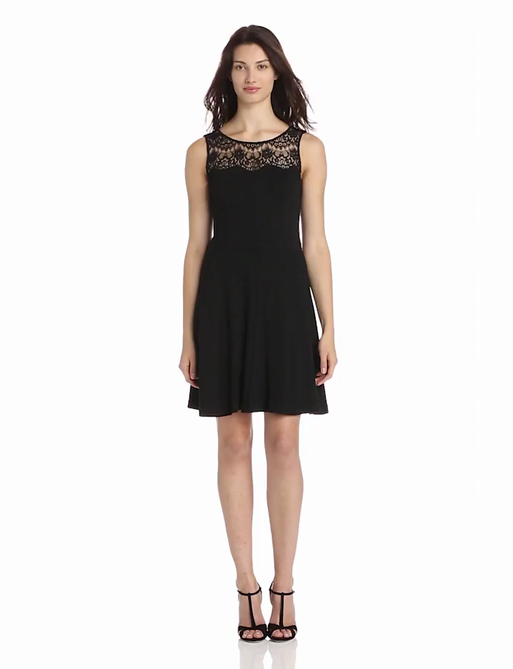 Jessica Simpson Womens Lace Yoke Fit And Flare Dress, Black, 6
