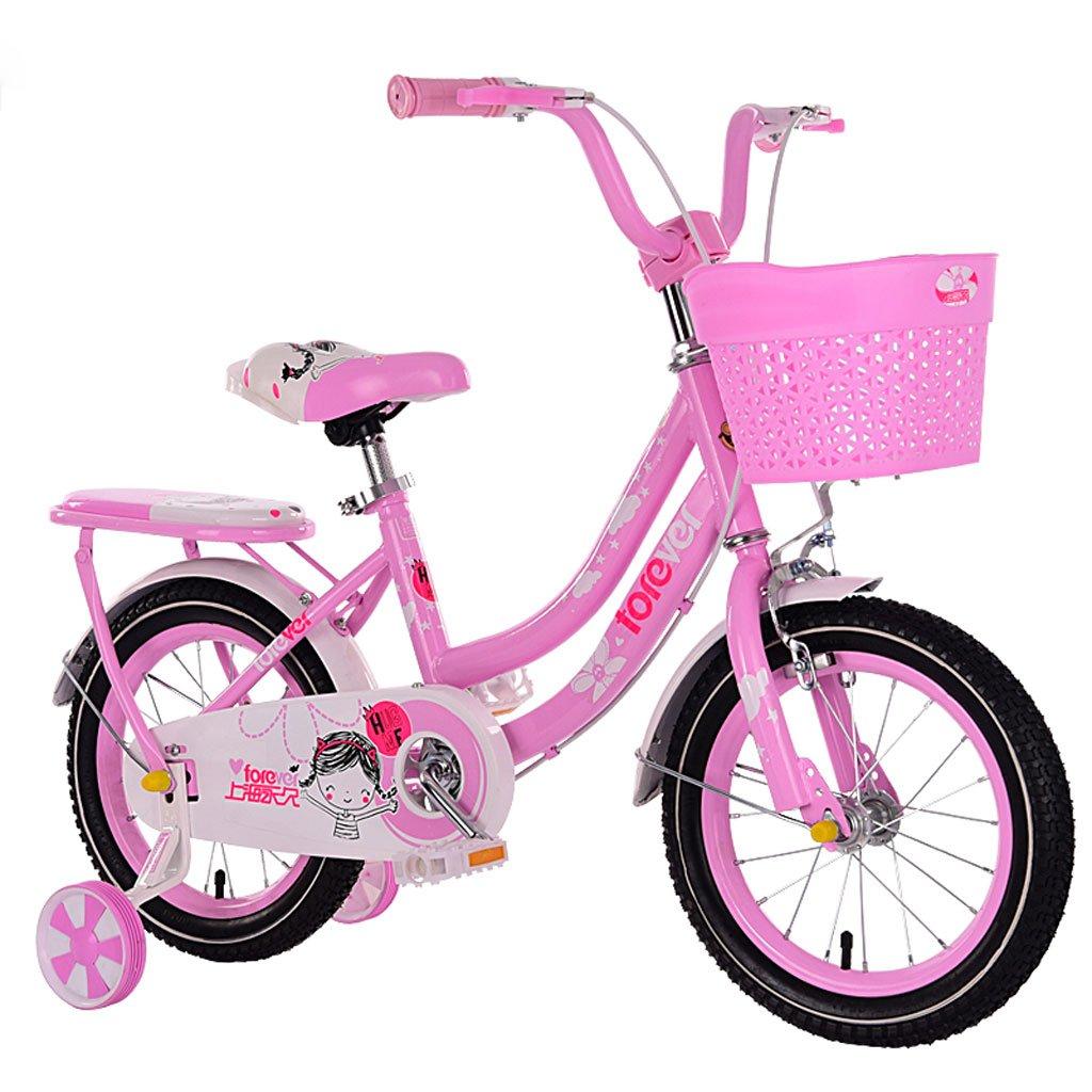 子供用自転車3-7歳のガールズバイクハイカーボンスチールベビーベビーカー14インチ自転車、ピンク/ブルー/レッド (Color : Pink)   B07CYXJYF7