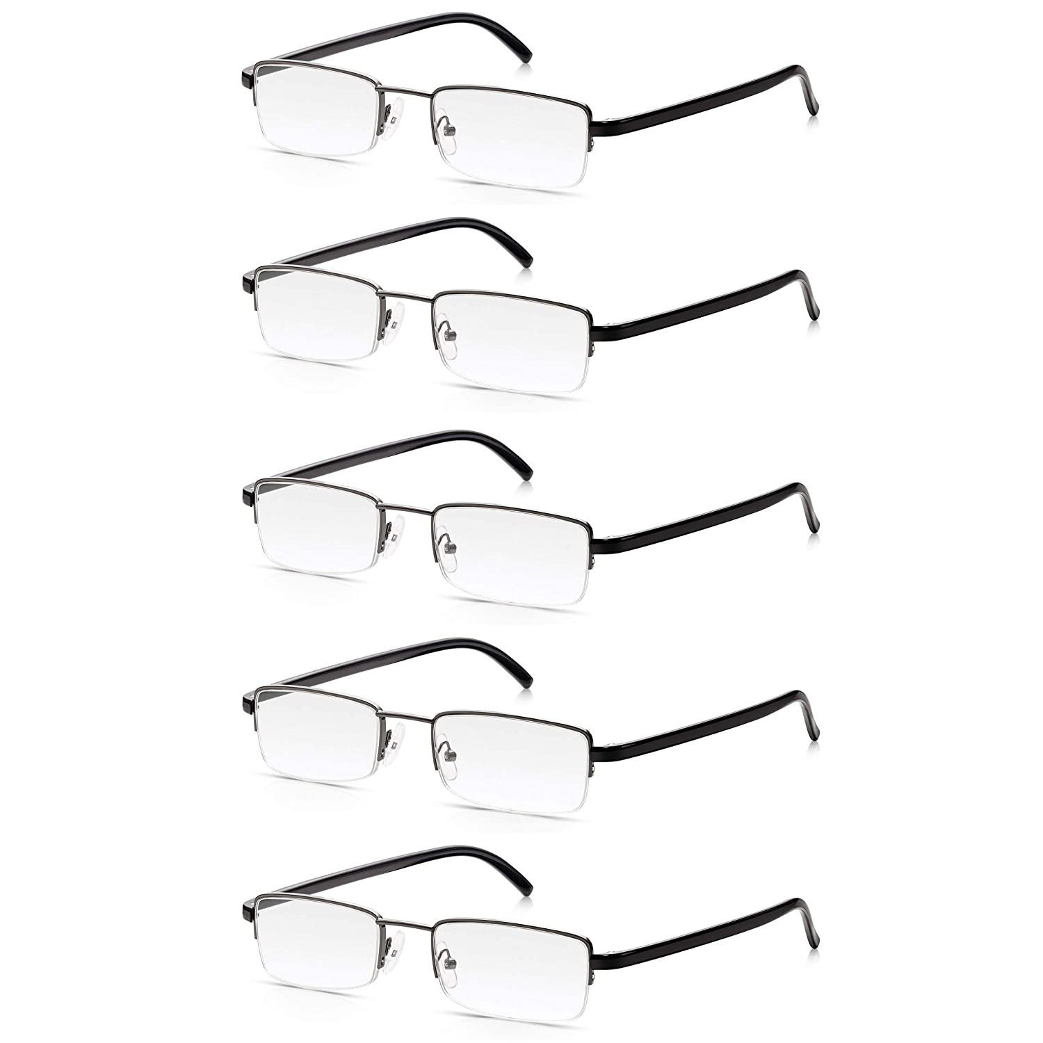 4cddae6433 5 Pack Reading Glasses 1.5  Multi-Pack of High Quality Read Optics ...