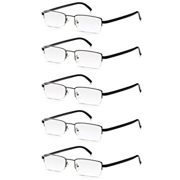 73a2bc2219 5 Pack Reading Glasses 1.5  Multi-Pack of High Quality Read Optics  Mens Womens Durable Metal Half Frame Ready Reader Spectacles with Premium  DifuzerTM ...