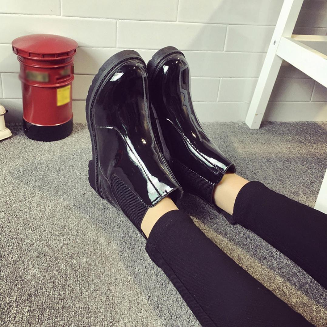 06ce36cee38 Botas Militares para Mujer Otoño Invierno PAOLIAN Moda Zapatos de Charol  Mediano Alto Botas de Agua Chelsea Botines Planos Biker Fiesta Calzado con  Rejilla ...