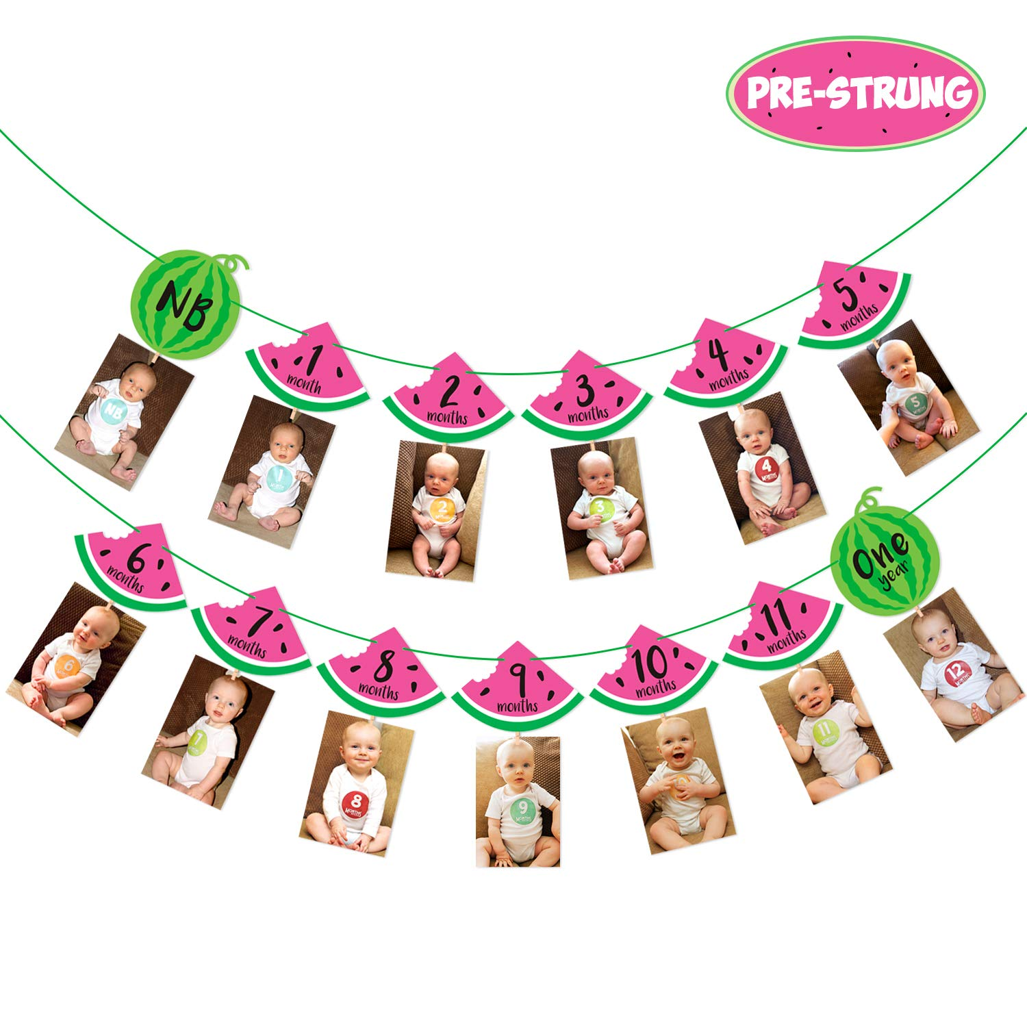 Watermelon Photo Banner 1st Birthday Monthly Banner Baby Girl 12 Month Photo Display Milestone Photograph Bunting Garland One In a Melon Party Supplies Summer Fruit Party Decorations