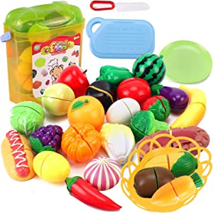 Liberty Imports Realistic Kitchen Fruits Vegetables Play Food Cutting Set for Kids