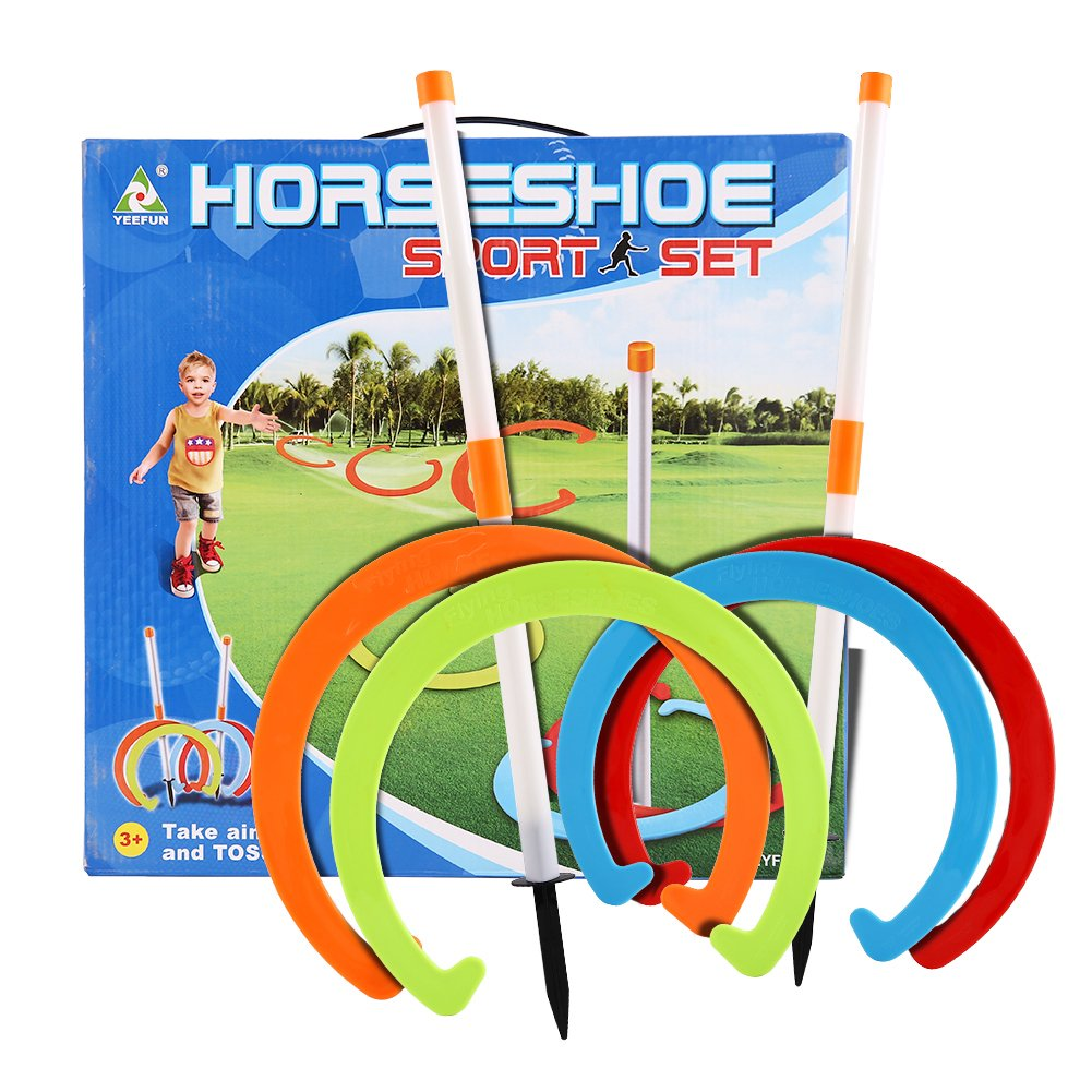 YeeFun Horseshoe Play Set Toss Games Sports Toys Classic Sports Playground Equipment