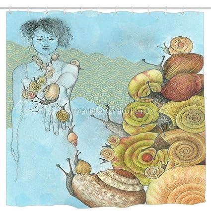37bd3b19bf1f5 Amazon.com: Wlioohhgs Snails Ascending Waterproof Shower Curtain ...
