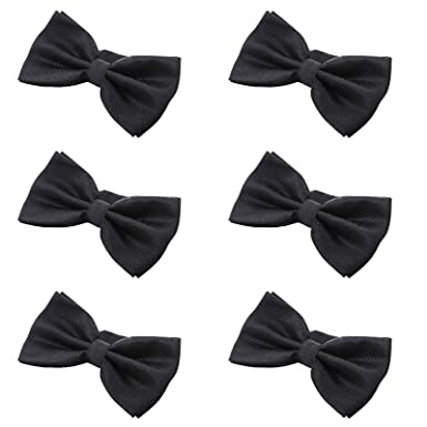 69027b8ba71a Mens Boys Formal Bow Ties - 6 Pack of Solid Color Adjustable Pre Tied  Bowties (
