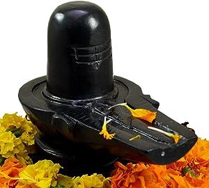 SPIRITUAL STORE Shiva Lingam Shiv ling natraja| Marble Shiva Lingam Shivling, 5 Inch (AISVL06, Black)