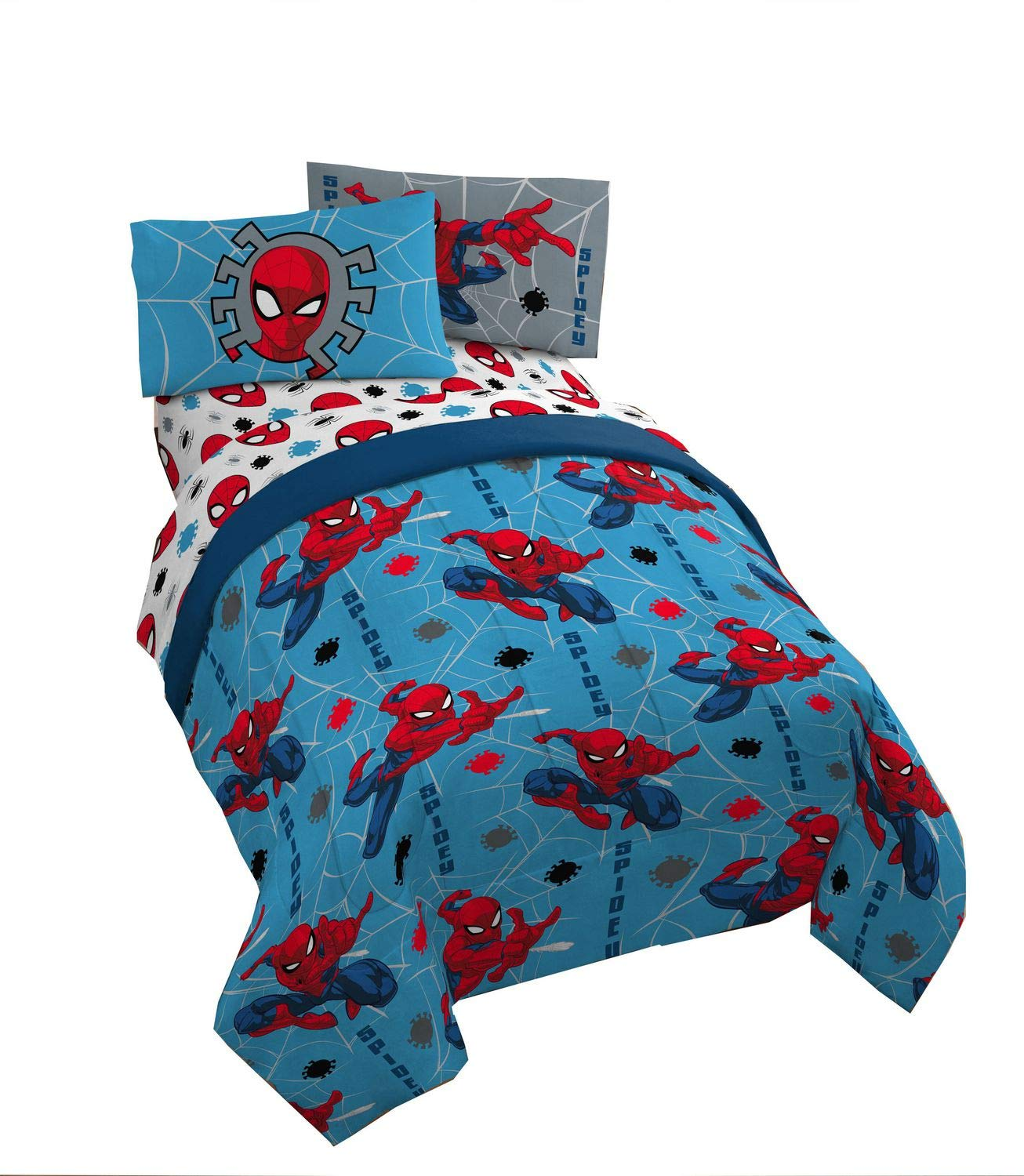 Spiderman Twin 4-Piece Bed Set Plus Bonus Bag Pillowcase Flat Sheet Fitted Sheet Includes Reversible Comforter