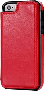 Smartphone Protective Clips For iPhone 5SE Phone Case Card Holder, PU Leather Kickstand Card Slots Case, Double Magnetic Clasp And Durable Shockproof Cover For iPhone 5SE Phone Bag ( Color : Red )