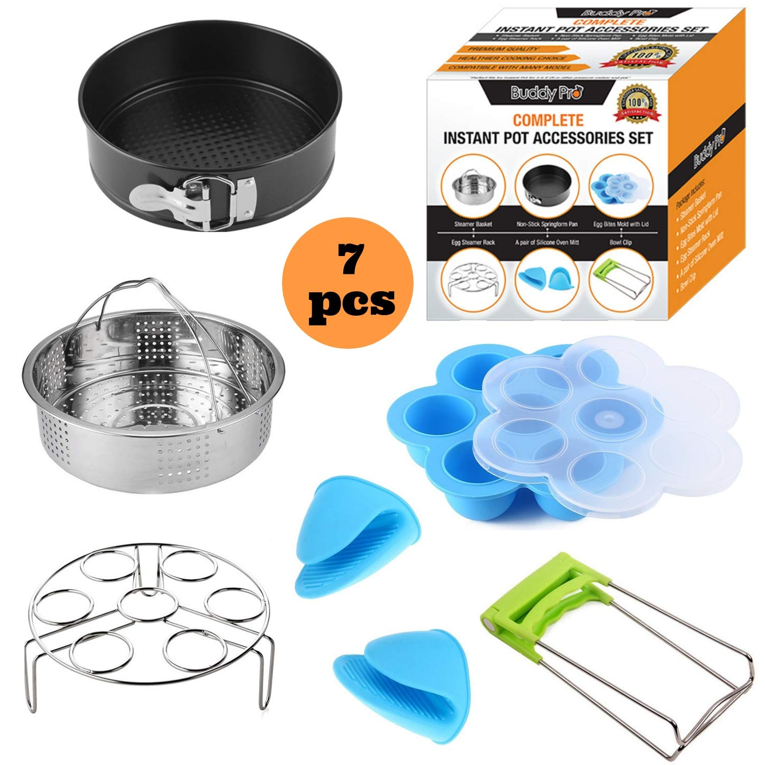 Buddy Pro Instant Pot Accessories Set Fits 5,6,8 Qt Pressure Cooker/7 Piece Complete Instapot Accessory Kit/Steamer Basket/Silicone Egg Bite Mold/Non Stick SpringForm Pan/Egg Steamer Rack/Oven Mitt