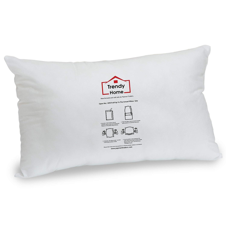 "Trendy Home 12"" x 18"" Premium Hypoallergenic Stuffer Home Office Decorative Throw Pillow Insert, Standard/White (12x18)"
