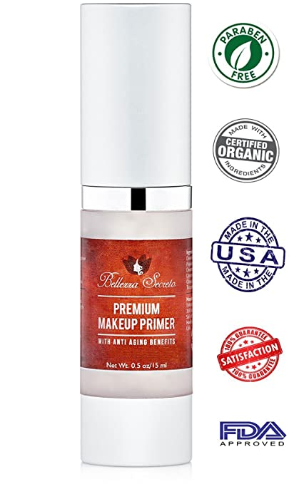 Organic Foundation Makeup Primer- anti aging, fine lines, wrinkles & pore minimizer primer - Enriched with Vitamin A, C & E for flawless skin- Waterproof makeup base - Made in The USA FDA Certified