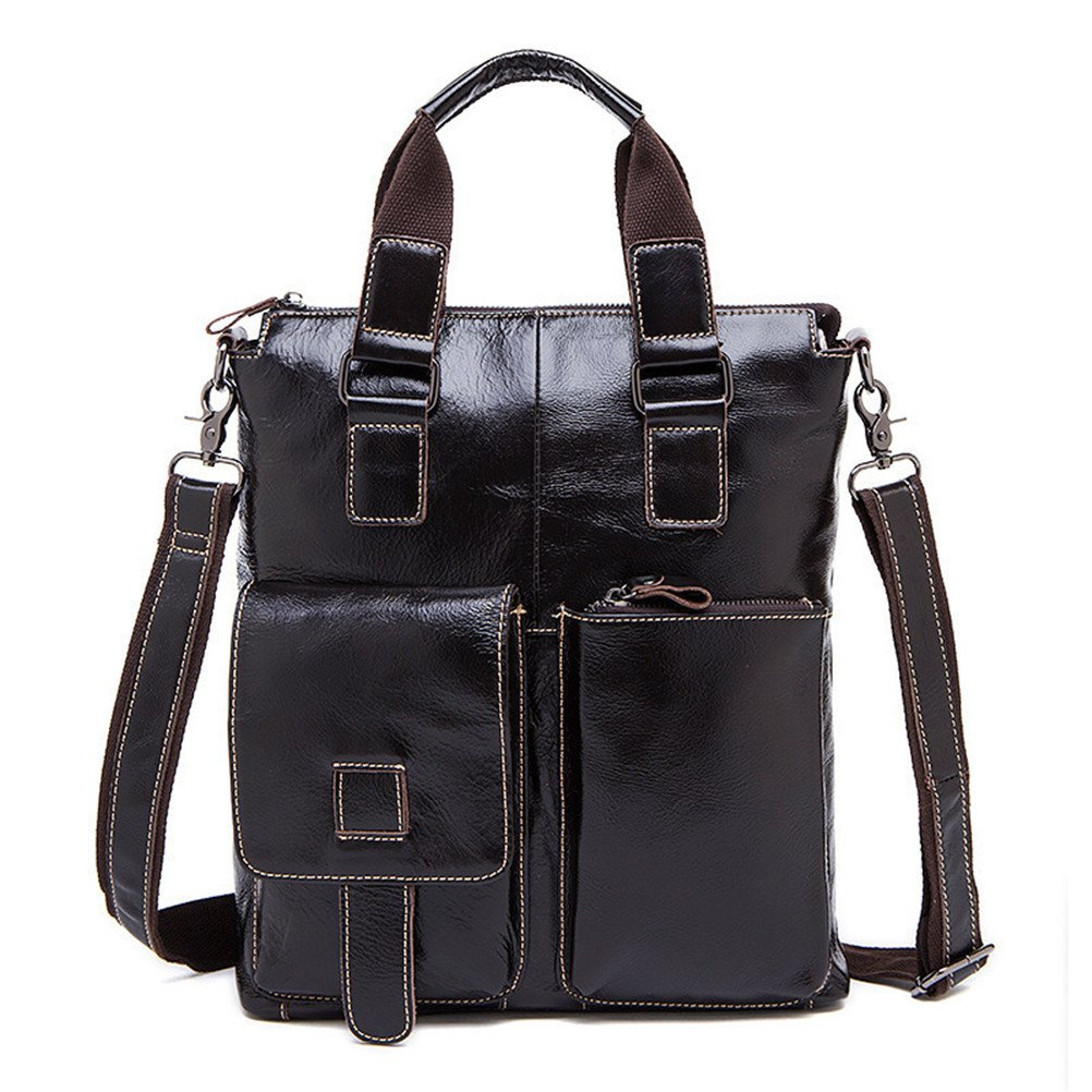 Cowhide Male Commercial Briefcase Real Leather Vintage Mens Messenger Bag Casual Natural Cowskin Business Bag