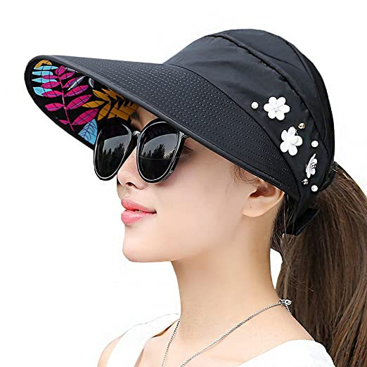 Amazon.com  Lujuny Flower Ponytail Visor Hat - Women UV Sun ... 0e5fd00bb85