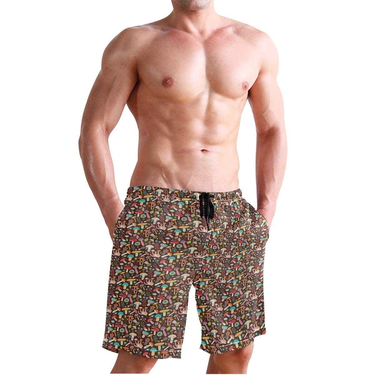 Dark Toned Background with an Assortment of Fungi Flowers and Foliage Leave Casual Swim Trunks All