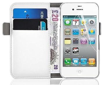 JAMMYLIZARD Funda iPhone 4 4S – carcasa iPhone 4 4S Funda estilo libro Deluxe Range tarjetas cierre magnético, color blanco